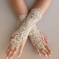 champagne Wedding gloves free ship bridal lace fingerless french lace arm warmers mittens cuff gauntlets fingerloop, Long lace glove