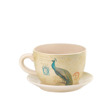 Precious Peacock Teacup Planter
