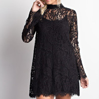 Luxe in Lace Shift Dress - Black