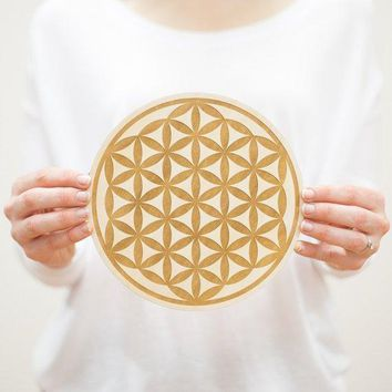 Flower of Life Wooden Crystal Grid