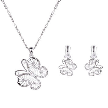 Silver Rhinestoned Cut Out Butterfly Necklace and Earrings