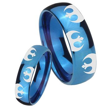 His Hers Mirror Blue Dome Star Wars Rebel Alliance Tungsten Carbide Wedding Rings Set