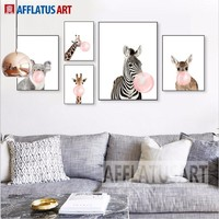 Zebra Giraffe Koala Balloon Posters And Prints Wall Art Canvas Painting Nordic Poster Animal Wall Pictures Kids Room Child Decor