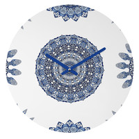 Monika Strigel Greek Blue Sunshine Round Clock
