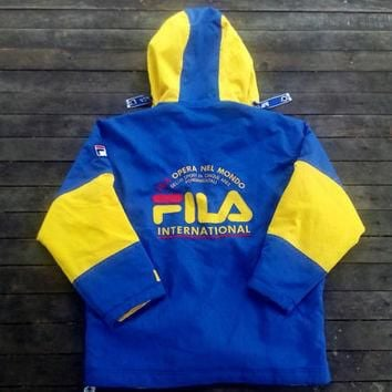 Fila Hoodie International opera Nel Mondo Coat Jacket Big Logo for winter wear