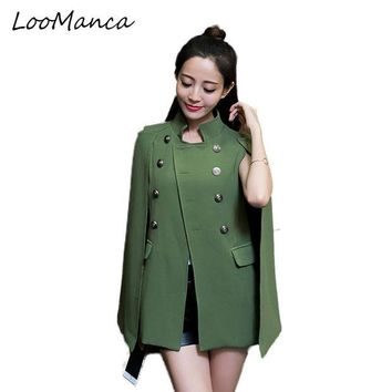 DKF4S Fashion Cloak Cape Blazer Women Coat Black Khaki Lapel Split Long Sleeve  Jacket Casual OL Suit Jacket Workwear Blazers