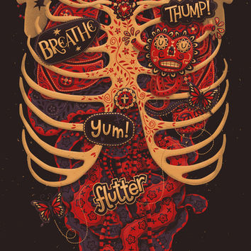 Anatomical Study - Day of the Dead Style Art Print by Steve Simpson