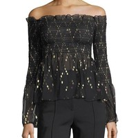 A.L.C. Agra Off-the-Shoulder Top with Metallic