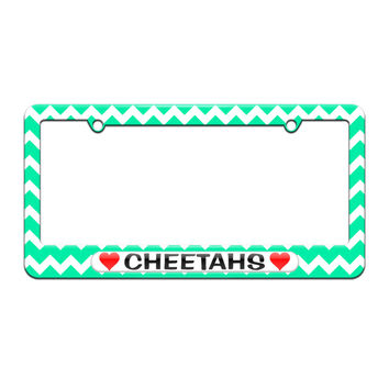 Cheetahs Love with Hearts - License Plate Tag Frame - Teal Chevrons Design