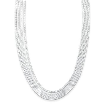 Sterling Silver 5-strand Herringbone Chain W/2in Ext Necklace