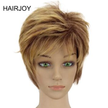 HAIRJOY High  Blonde Mixed Short Layered Curly Hair Wigs