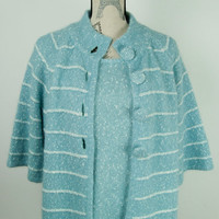 Vintage Ladies Elizabeth Scott Angora Wool Knitted Jumper Cardigan Twin Set L/XL