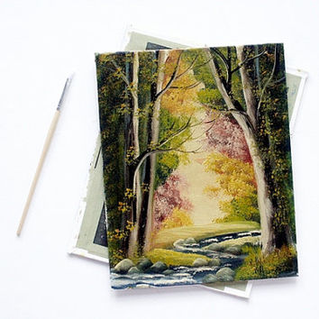 Vintage Waterfall Landscape Paintings -  Two Woodland Waterfall Scenes - Signed by Artist, 8x10 Wall Art, Nature, Woodlands, Mountain Art