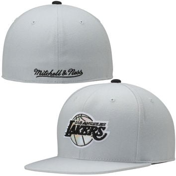 Los Angeles Lakers Mitchell & Ness Foil High Crown Fitted Hat – Gray
