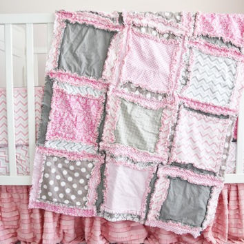 Baby Girl Crib Bedding - Simply Precious - Gray and Baby Pink Nursery