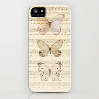 Butterflies on Vintage Music Notes by Adidit iPhone Case by Adidit   Society6