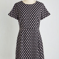 ModCloth Mid-length Short Sleeves Sheath On the Origin of Speeches Dress