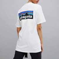 Patagonia P-6 Back Logo T-Shirt in White at asos.com