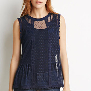 Dotted Mesh Pintuck Top