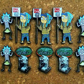 10 Mixed Rick and Morty Fanart Hatpin Giftpack