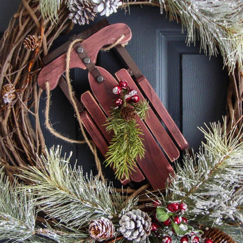 Winter Wreaths with Wooden Snow Sled - Pine Wreath - Rustic Wreaths - Winter Decorations - Outdoor Holiday Wreath  - Christmas Wreaths