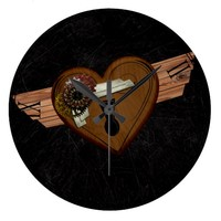 Grunge Steampunk Heart Wall Clock