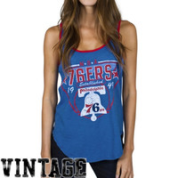 Junk Food Philadelphia 76ers Ladies Tip-Off Vintage Tank Top - Royal Blue