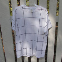 Hand Painted Black and White Grid Pattern Unisex Tee Shirt
