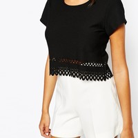 Love Crop Top With Cut Out Scallop Hem