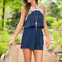New Day Crochet Romper, Navy