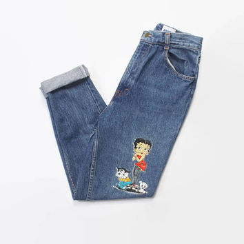 Vintage 90s BETTY BOOP Jeans / 1990s High Waist Blue Denim Mom Jeans