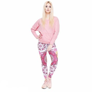 Pink Snow Flakes Leggings