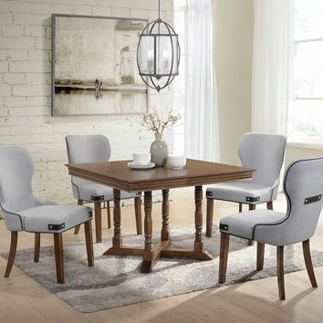 Acme 71825 5 pc Wilfried walnut finish wood square pedestal dining table set