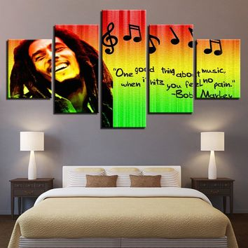Prints Pictures Home Decor Modular Canvas Wall Art 5 Pieces Bob Marley Painting For Living Room Music Poster Unframed