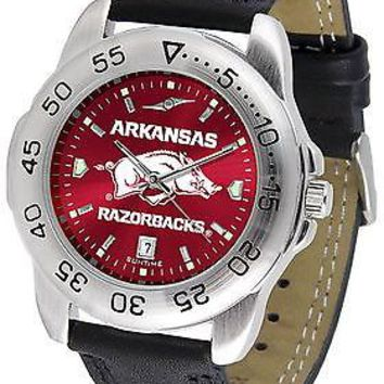 Arkansas Razorbacks Sport Watch Anochrome Leather Band Ladies or Mens Red Dial