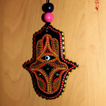 "Hamsa Amulets, Kabbalah Hand of Fatima ""Blessing for Home"" Hamsa!. Also for the car!hand painted"