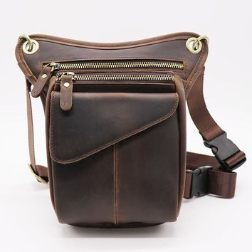 Genuine Leather Men's Leg/Waist  Bag phone pouch telefono