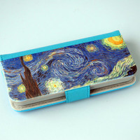 Phone Wallet Fabric Phone Case Faux Leather Wallet Phone Case iPhone 6 Case Van Gough Starry Night