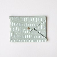 Leather Rainfall Envelope Purse in Olive by Rosie Drake Knight