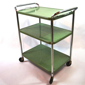 EXCELLENT CONDITION Vintage Green Enamel Cart, Bar Cart, Hollywood Regency 3 Tier Cart, Mid Century Rolling Cart, Removable Top Shelf Tray