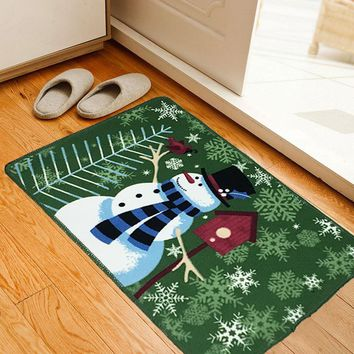 Anti-skid Cartoons Christmas Print Floor Mat Kitchen Bedroom Living Room Bathroom Mat 45*70cm [118169731097]