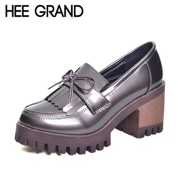 HEE GRAND Tassel Oxfords 2017 Bling Platform Shoes Woman Loafers Casual Creepers Slip On High Heels Silver Women Shoes XWD6047