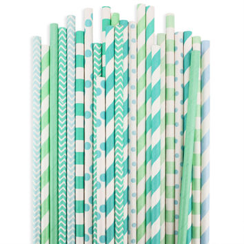 Sea Glass Paper Straw Assortment