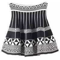 Black and White Geometric Pattern Hip Pleated A-Line Skirt