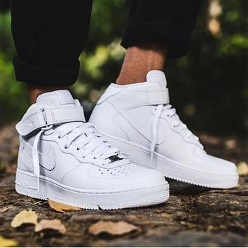 NIKE Air Force Trending Stylish Unisex Casual Running Sport Shoes Sneakers High Tops And Low Help Shoes HIGH QUALITY Pure White I