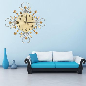 3D Wall Clock, Crystal Flower Modern Home Decoration Silent Clocks