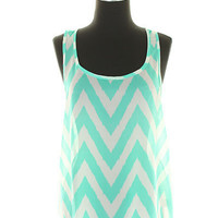New Mint Green Chevron Zig Zag Tank Top Blouse Shirt Small Medium Large