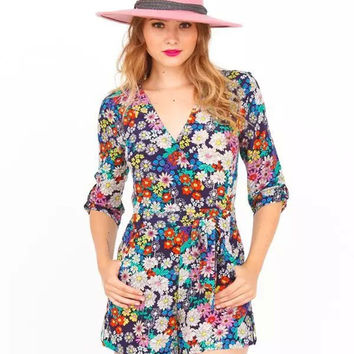 Purple Floral Printed V-Neckline Romper with Roll Up Sleeve