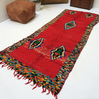 Red Hallway 3x8 Moroccan Rug Contemporary rug Morocco carpet, Red runner, christmas gift, living room decor, original rug, boyfriend gifts