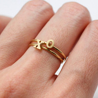 Adjustable Initial Ring / Capital letter Ring / Alphabet ring / Letter ring / stamp ring,monograms - color listed in 2 colors(Gold / Silver)
